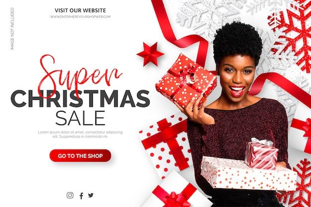 Plantilla de banner de venta de navidad con elementos realistas vector gratuito