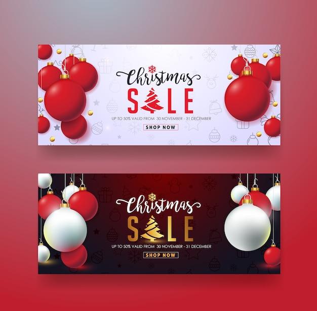 Plantilla de banner de venta de navidad, tarjeta de regalo, vale de descuento, cupón Vector Premium