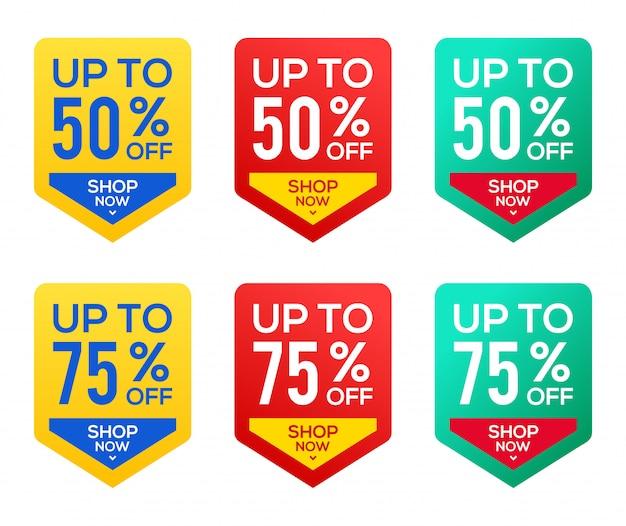 Plantilla de banner de venta, oferta especial 50% y stock de 75% Vector Premium