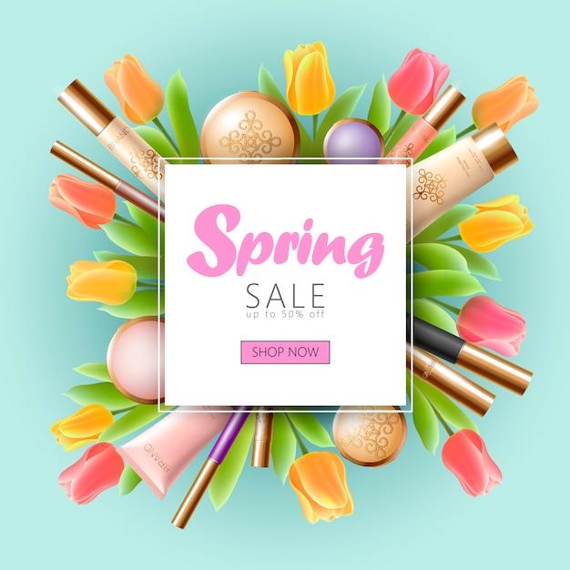 Plantilla de banner de venta de primavera cosmética 3d realista, cartel promocional cuadrado Vector Premium