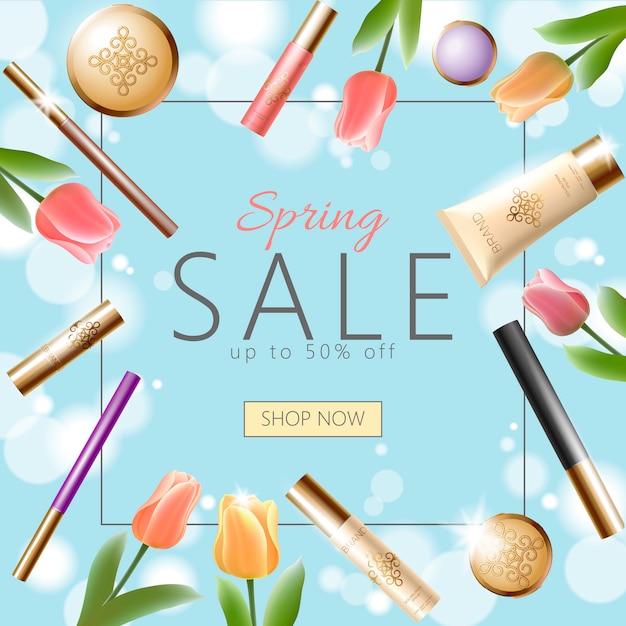 Plantilla de banner de venta de primavera cosmética 3d realista, cuadrado promocional Vector Premium