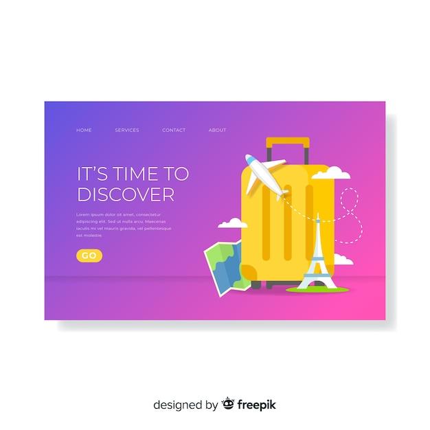 Plantilla de banner de viaje en diseño plano vector gratuito