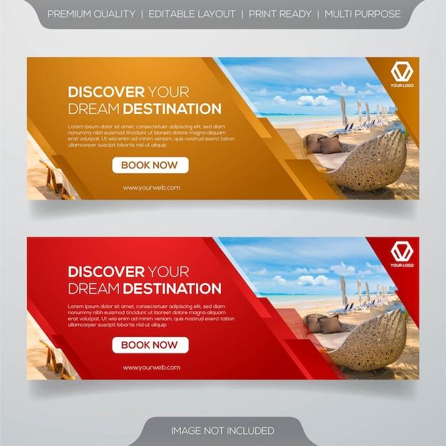 Plantilla de banner de viaje y viaje Vector Premium