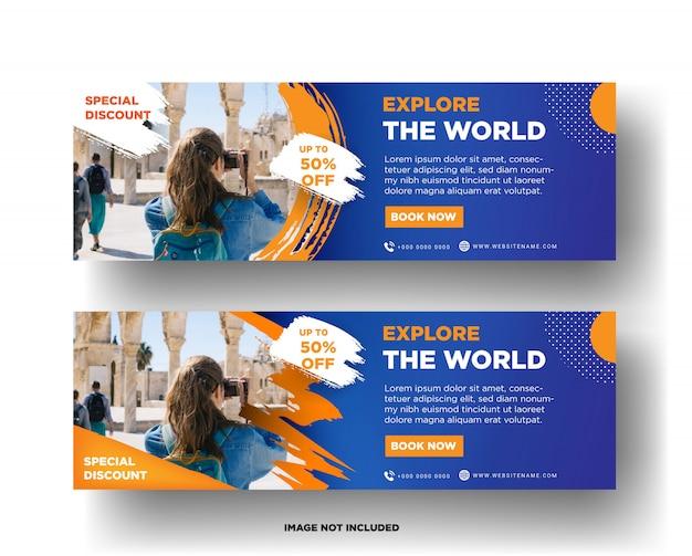 Plantilla de banner de viaje Vector Premium