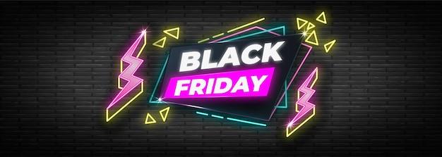 Plantilla de banner de viernes negro de diseño de neón vector gratuito