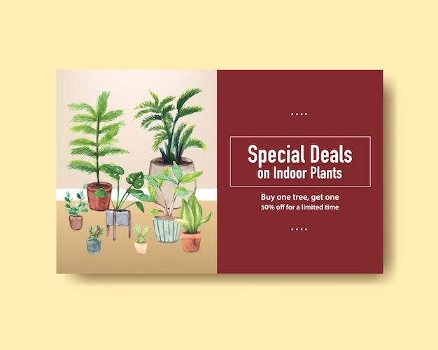Plantilla de banner web con diseño de plantas de verano para redes sociales, internet, web, comunidad en línea y publicidad de ilustración de acuarela vector gratuito