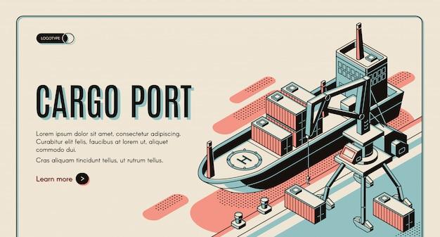 Plantilla de banner de web isométrica puerto de carga. vector gratuito