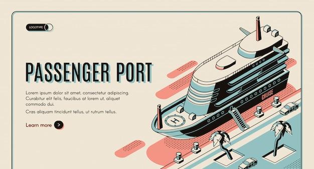 Plantilla de banner web isométrica puerto de pasajeros. vector gratuito