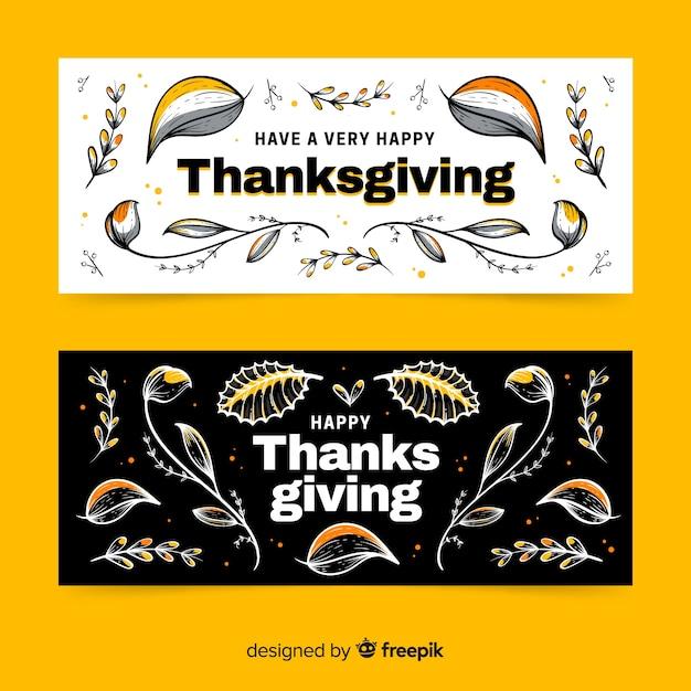 Plantilla de banners de acción de gracias dibujada a mano vector gratuito