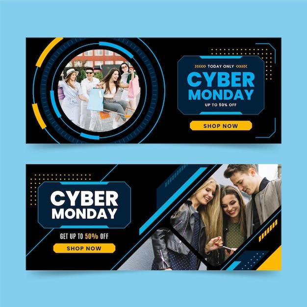 Plantilla de banners de cyber monday de diseño plano vector gratuito