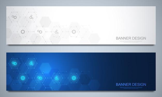 Plantilla de banners para decoración tecnológica y médica con iconos y símbolos. concepto de tecnología de ciencia, medicina e innovación. Vector Premium