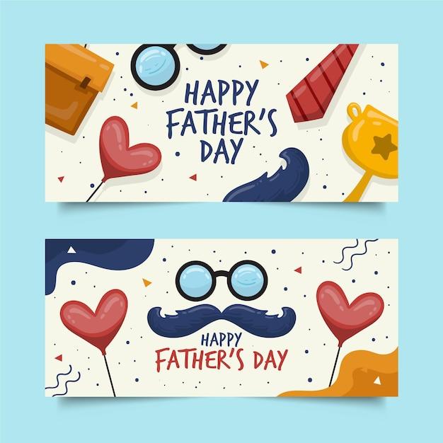Plantilla de banners del día del padre dibujado a mano vector gratuito