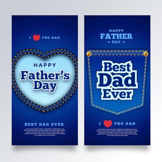 Plantilla de banners del día del padre realista vector gratuito