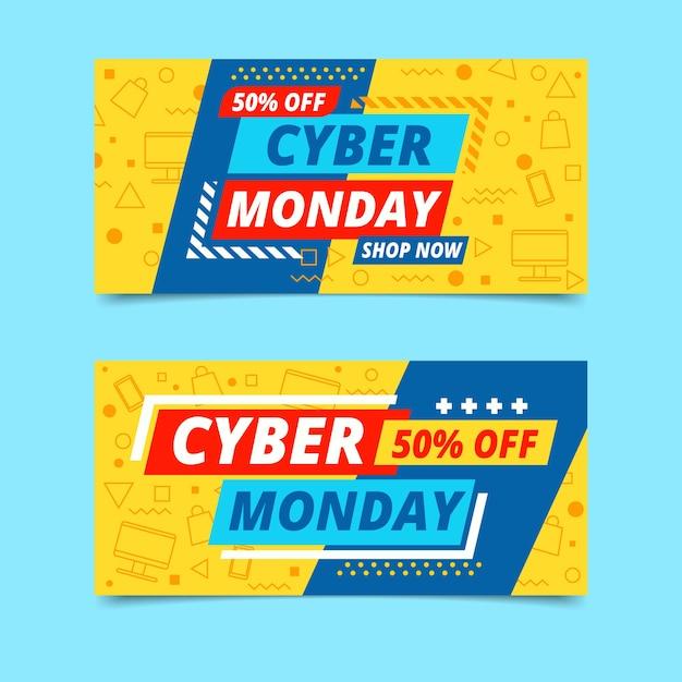 Plantilla de banners de diseño plano ciber lunes vector gratuito