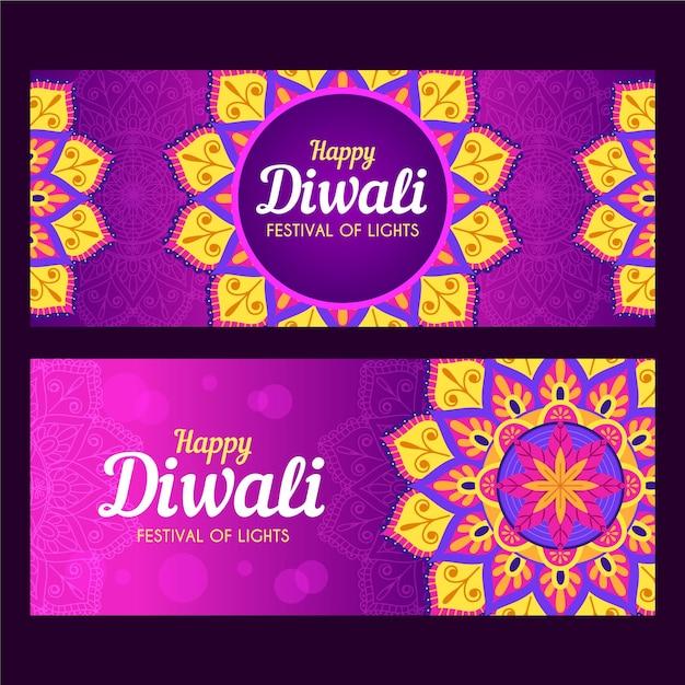 Plantilla de banners de diwali vector gratuito