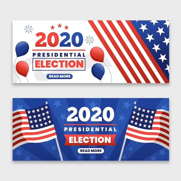 Plantilla de banners de elecciones presidenciales de ee. uu. 2020 vector gratuito
