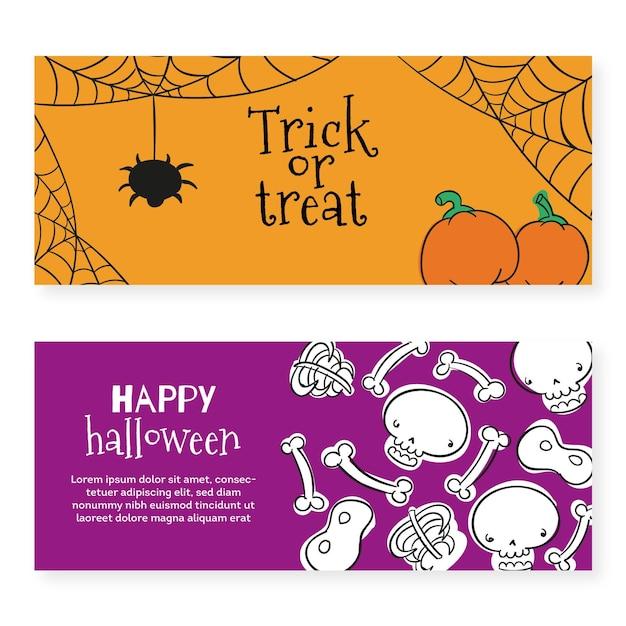 Plantilla de banners de festival de halloween vector gratuito