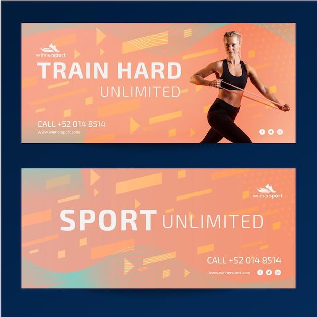 Plantilla de banners para gimnasio fitness vector gratuito