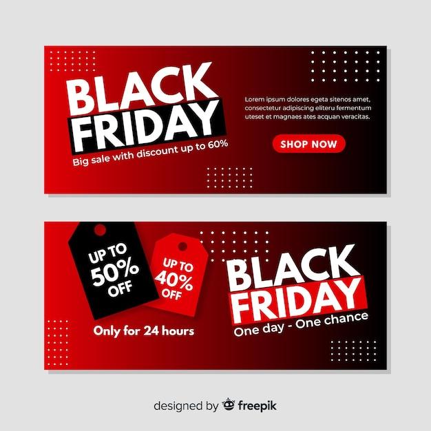Plantilla de banners gradiente viernes negro vector gratuito