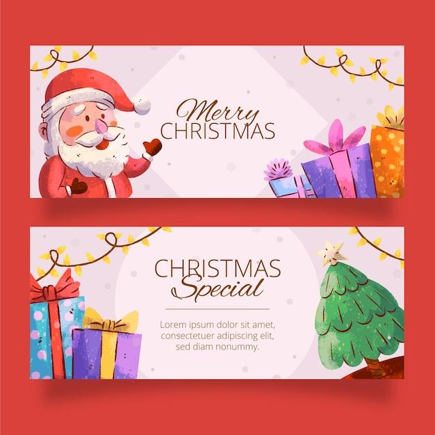 Plantilla de banners navideños en acuarela vector gratuito