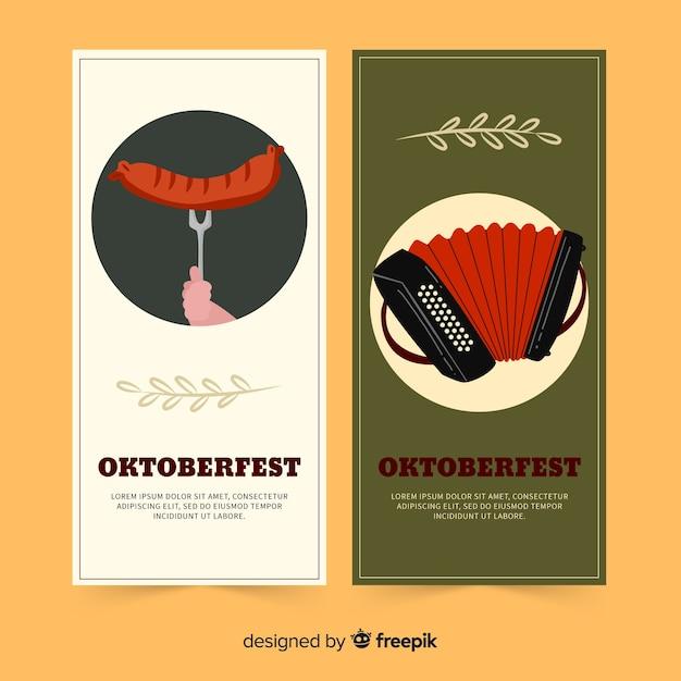 Plantilla de banners de oktoberfest dibujados a mano vector gratuito