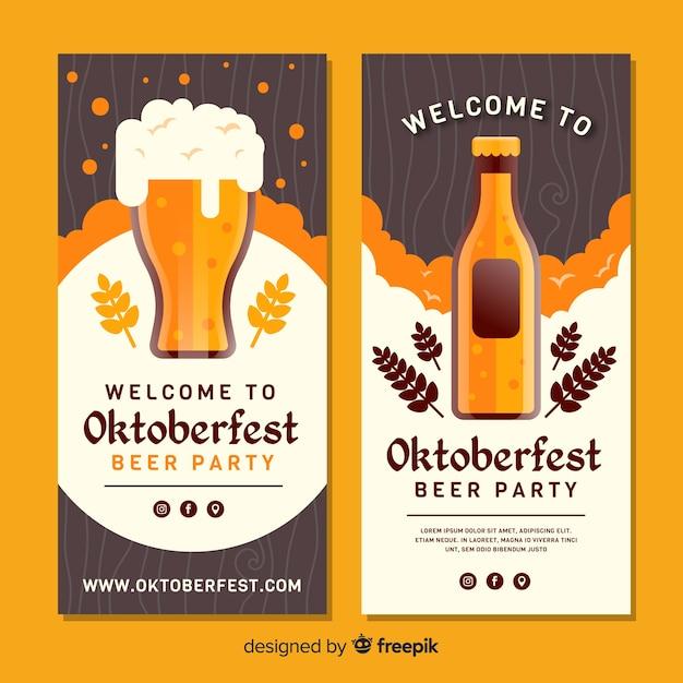 Plantilla de banners del oktoberfest en diseño plano vector gratuito