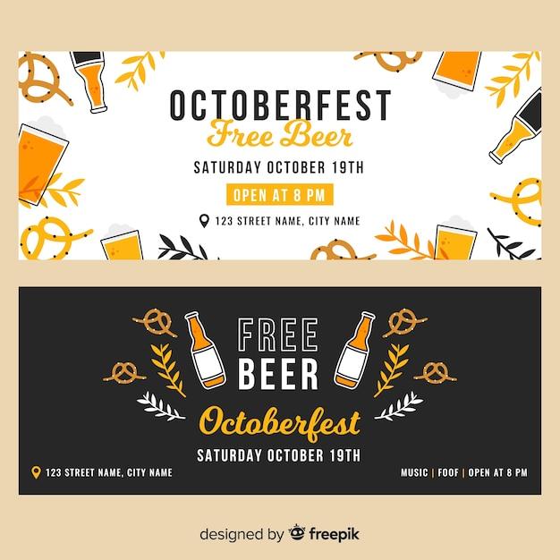 Plantilla de banners de oktoberfest de diseño plano vector gratuito