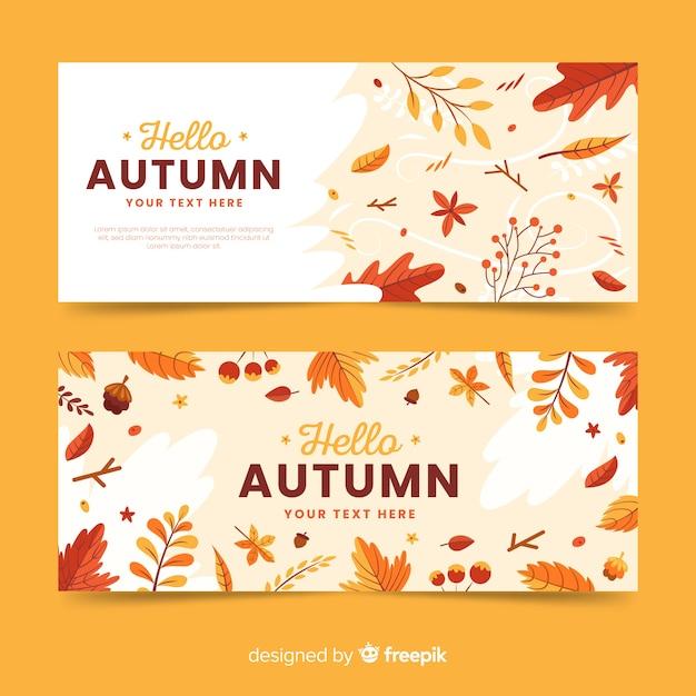 Plantilla de banners de otoño en diseño plano vector gratuito