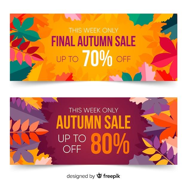 Plantilla de banners de otoño con hojas en diseño plano vector gratuito