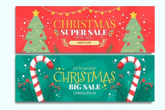 Plantilla de banners de rebajas de navidad dibujados a mano vector gratuito
