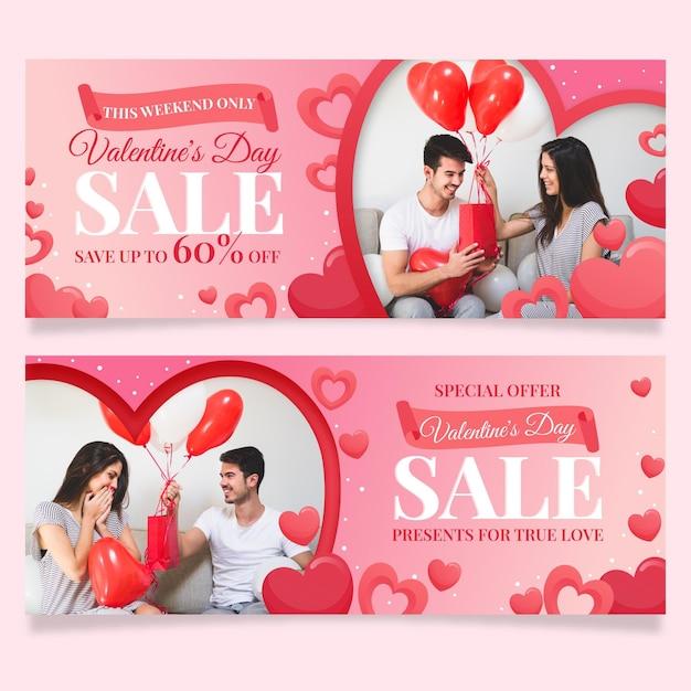 Plantilla de banners de rebajas de san valentín vector gratuito