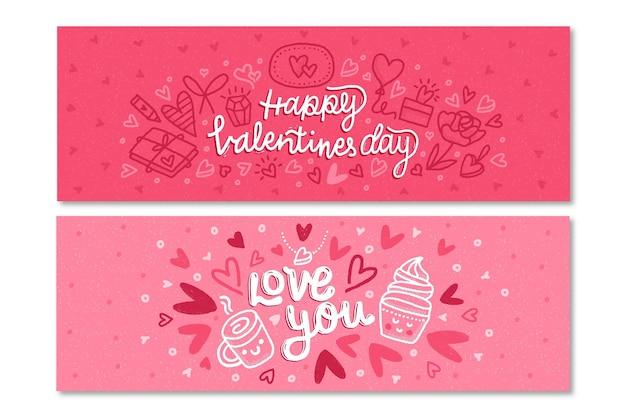 Plantilla de banners de san valentín dibujados a mano vector gratuito
