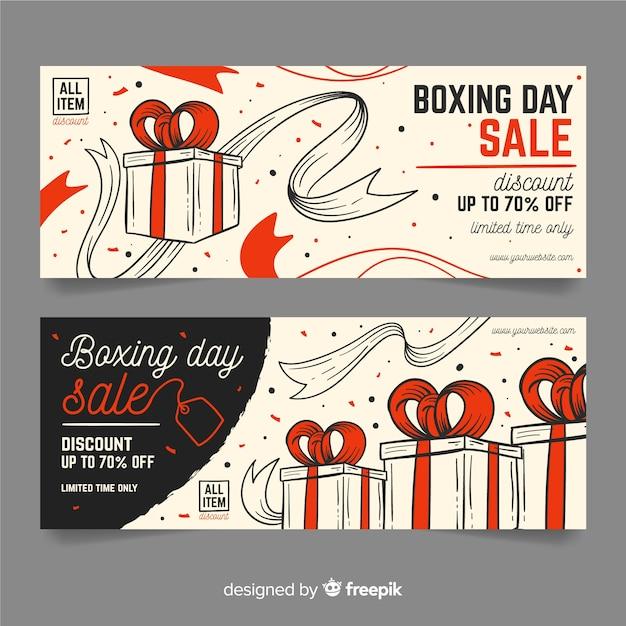 Plantilla de banners de venta de día de boxeo dibujado a mano vector gratuito
