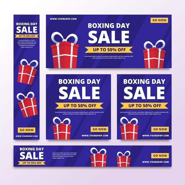 Plantilla de banners de venta de día de boxeo de diseño plano vector gratuito