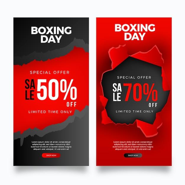 Plantilla de banners de venta de día de boxeo realista vector gratuito