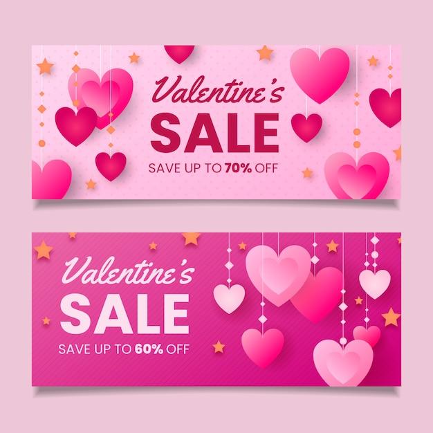 Plantilla de banners de venta de día de san valentín de diseño plano vector gratuito