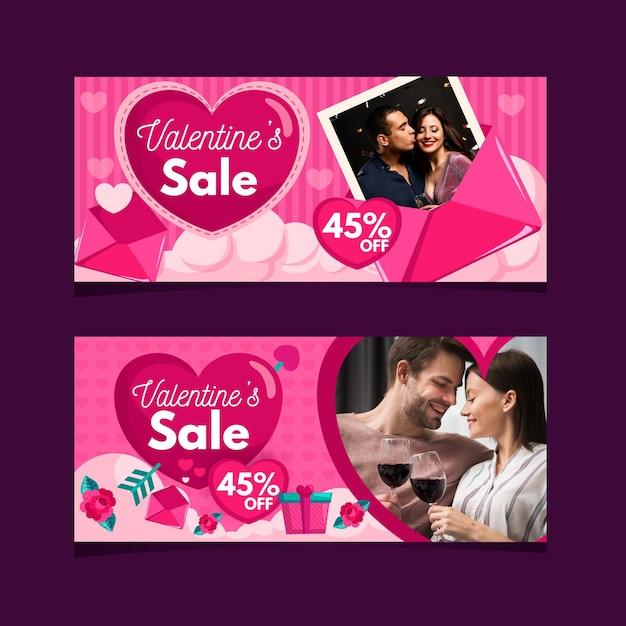 Plantilla de banners de venta de día de san valentín Vector Premium