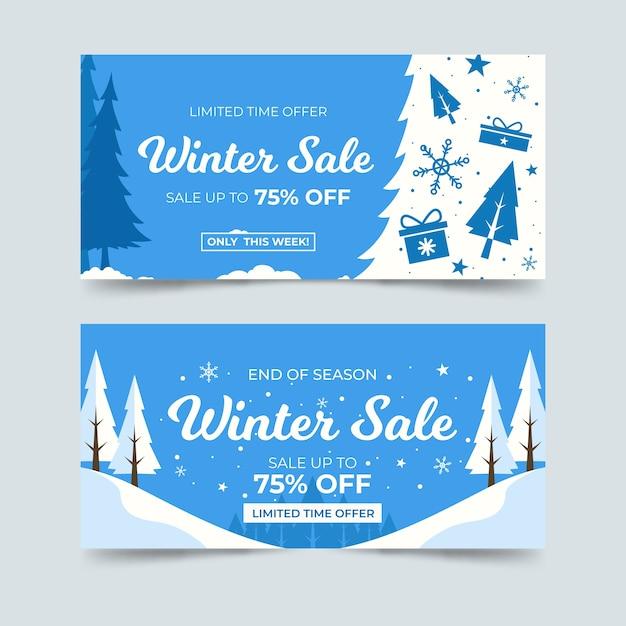 Plantilla de banners de venta de invierno de diseño plano vector gratuito
