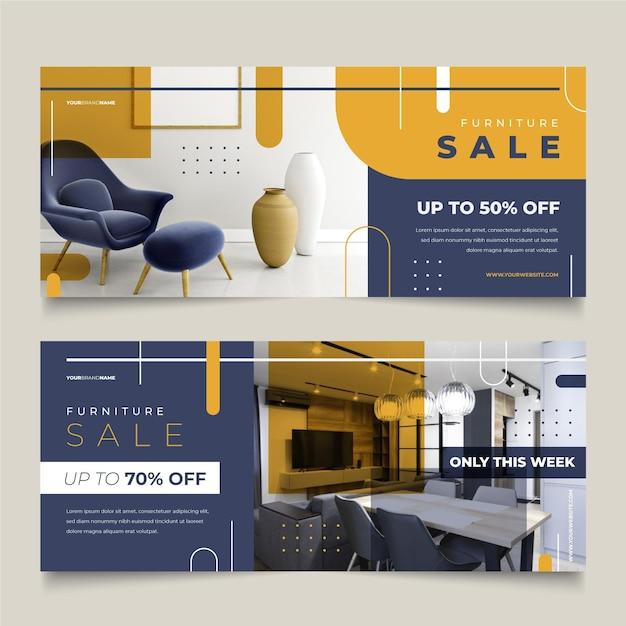 Plantilla de banners de venta de muebles con descuentos especiales vector gratuito