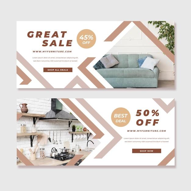Plantilla de banners de venta de muebles vector gratuito