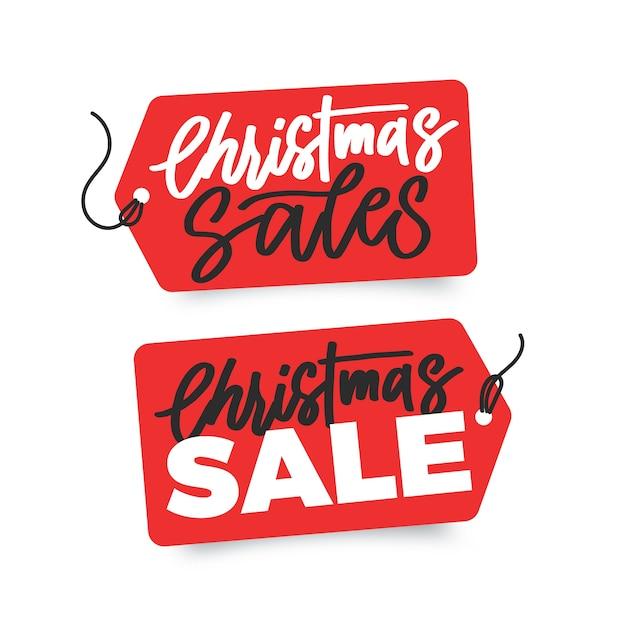 Plantilla de banners de venta de navidad dibujados a mano vector gratuito