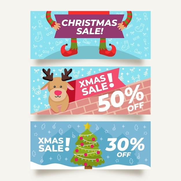 Plantilla de banners de venta de navidad de diseño plano vector gratuito