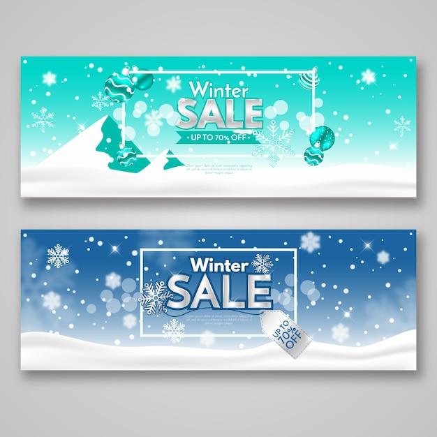 Plantilla de banners de venta realista de invierno vector gratuito