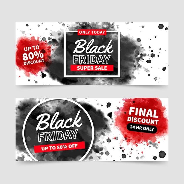 Plantilla de banners de viernes negro en acuarela Vector Premium