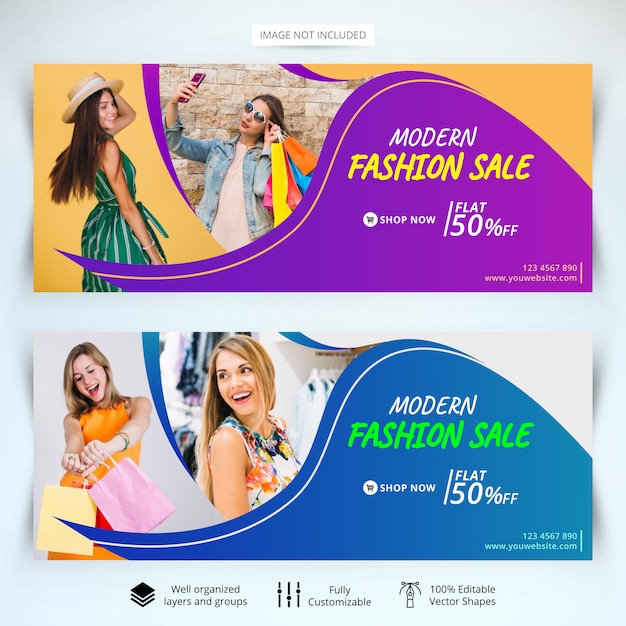 Plantilla de banners de web de venta de moda. Vector Premium