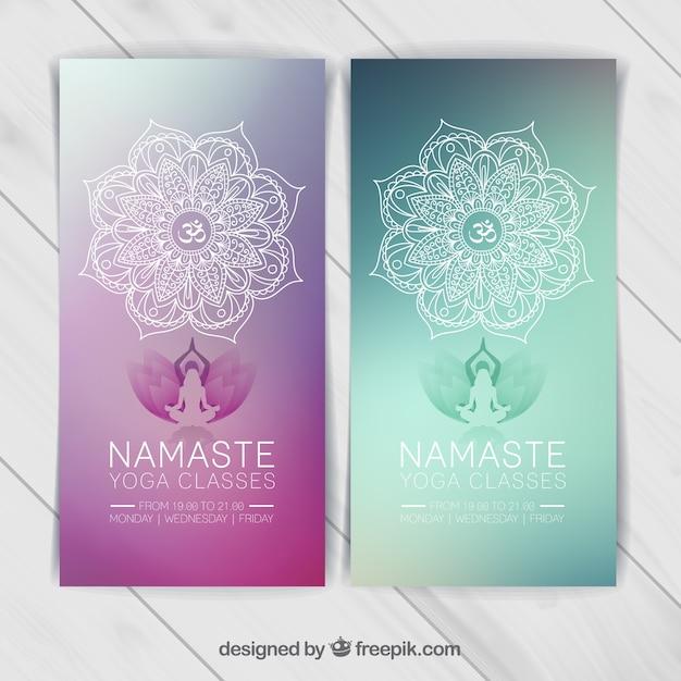 Plantilla banners de yoga vector gratuito