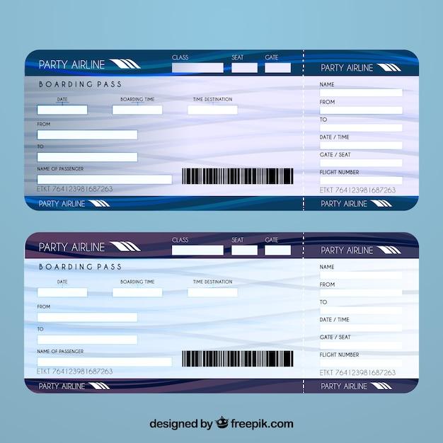 Plantilla de billete de avión vector gratuito