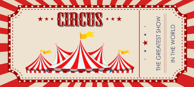 Una plantilla de boleto de circo. vector gratuito