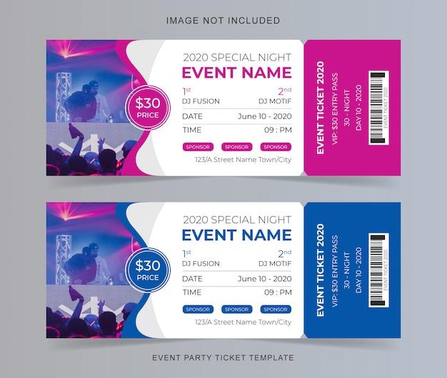 Plantilla de boleto para fiesta Vector Premium