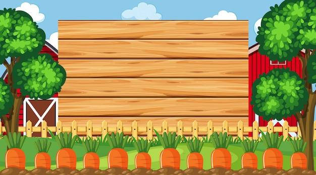 Plantilla de borde con escena de granja Vector Premium